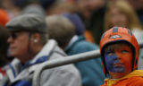 JPM126 A Denver Broncos fan watches the scoreboard against the  Jacksonville Jaguars in the second...