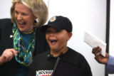 L to R: Linda Childears (cq), president and CEO of the Daniel's Fund laughs and  Roman Ross (cq)...