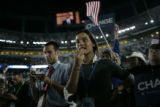 Zoe Rosenbloom, from NYC, claps during Barack Obama's acceptance speech the last day of the DNC at...