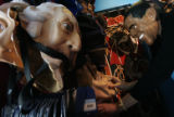 Marissa Lewis (cq) puts on a Barak Obama mask as she checks out a Hillary Clinton mask at the...