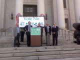 Mayor John Hickenlooper leads a group of metro area mayors to oppose amendments 47, 49 and 54 at...