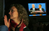 DM2037  YOUNG_DEMOCRATS_DEBATE WATCH+55126 Theresa Preston, 30, watches as presidential candidates...
