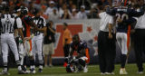 JPM1084 Denver Broncos cornerback Karl Paymah (41) takes a breather in the fourth quarter against...