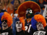 JPM1201 Denver Broncos fans watch solemnly as Denver loses to the Miami Dolphins  Sunday, Nov. 2,...