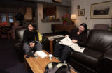 (Aspen, Colo., December 28, 2004) Dee Nguyen, left, and Adelia Chetreanu, both of Canada, relax in...