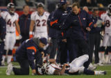 (CS303) Michael Pittman is shaken up in the first quarter of the Denver Broncos against the New...