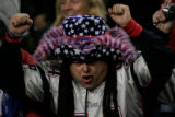(CS345) A Patriots fan celebrates in the third quarter of the Denver Broncos against the New...