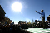 (10/23/2004) Denver, Colorado- Presidential candidate John Kerry  greets an estimated 12,000 fans...
