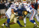 Prep 5A football:  Cherry Creek (white) at Mullen (blue),  Mullen High School, Denver, Colo., on...