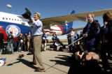(10/23/2004) Denver, Colorado- Presidential candidate John Kerryplays catch with his daugthter...