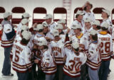 Denver, Colo., photo taken April 13, 2005-The University of Denver men's hockey team breaks huddle...