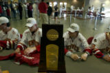 Denver, Colo., photo taken April 13, 2005- The 2005 NCAA National Hockey Championship trophie...