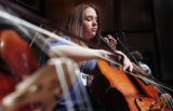 (DENVER, Colo., April 14, 2005) Ruth Zeeman, a cellist with the Creighton Middle School Jazz...