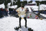 (WINTER PARK, Colo., April 14, 2005) Ben Ryan (name from bib sheet) adjusts his underwear after...