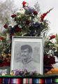 (DENVER, Colo., April 17, 2005) Flowers and a drawing of Corky Gonzales were part of a  Memorial...