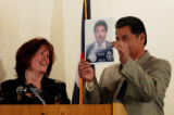 (DENVER, Colo., Jan. 3, 2005) Denver Police Det. Amy Alonzo has a laugh as her husband Det. Abe...