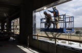 (AURORA, CO., April 19, 2005)  Welders work on  the new Children's Hospital at Fitzsimons Tuesday,...
