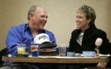 (Denver shot on 4/20/05) Denver Nuggets head coach George Karl (CQ-George Karl) has a laugh with...