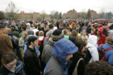 April 20, 2005- (BOULDER,CO) Students at CU gather in a farrand Field on campus after staging a...