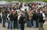 April 20, 2005- (BOULDER,CO) Students at CU gather in a parking lot across from the Coor's event...