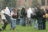 April 20, 2005- (BOULDER,CO) Hail didn't stop students at CU from gathering in Farrand Field on...