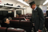 (NYT42) NEW YORK -- April 13, 2005 -- TRAIN-BUFF-3 -- Walter O'Rourke at work on a New Jersey...