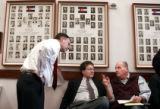 State Senator Doug Lamborn, (R-Colorado Springs), left, talks with Dennis Polhill, Golden, and...