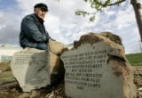 Dachau survivor Jack Goldman (cq) sits outside of the Hebrew Educational Alliance on Tuesday April...