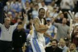 Denver Nuggets Marcus Camby objects after being called for a foul during third quarter action...