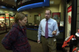 (DENVER, Colo., January 4, 2005)  Linda Treadway gets advice from Scott Schwab, assistant manager,...