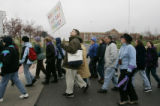Protesters of Focus on the Family march around the campus Sunday May 1, 2005. Soulforce, a...