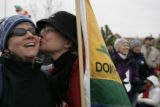 Bridget Brophy (cq) (left) gets a kiss from her wife Suzanne Banning(cq) (they were married in...