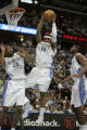 Denver Nuggets Carmelo Anthony, center, grabs a defensive rebound in the second quarter of game...