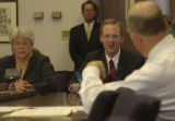 Senator Stephanie Takis,(left of frame) D, Adams County, brought SB 238 to Committee Room 354 in...