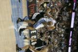 Denver Nuggets Carmelo Anthony battles for a loose ball with San Antonio Spurs Bruce Bowen during...