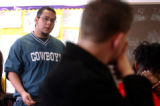 (DENVER, CO. NOVEMBER 17, 2004) Tomas Gonzales, 18, speaks to fellow students in Louise West's AP...