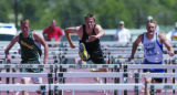 EVST Gamble 110 H BH 5-22 Vail Daily/Bret Hartman Eagle Valley's Brad Gamble, middle, jumps a...