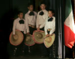 (DENVER, COLO., MAY 3, 2005)  Students from Viva Mexico Dance Group (cq) wait off stage as they...