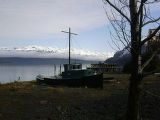 The view of the Chugach Mountains from the front of the Orca Adventure Lodge near Cordova, Alaska....