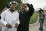 (L-R ) Denver Bronco's NFL 4th draft pick Maurice Clarett, RB from OhioState, gets ribbed by the...