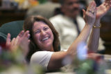 Alice Madden, Democrat HD-10,  laughs as she is lampooned by Republican Representatives on the...