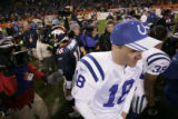 (DENVER, Co., SHOT 1/2/2005) The Denver Broncos' ??? the Indianapolis Colts' ??? during the fourth...