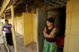 Kampong Chnang province, Cambodia.  November 4, 2003.  Prostitute  Pane Srey Neang, 18, rt, in...