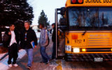 (LAKEWOOD, Colo., January 6, 2005) Bear Creek High School students make their way off school buses...