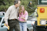 Platte  Canyon high school, counselor Jim Orcutt helps Lindsey Toler, 14, a sophomore, who got off...