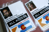 MJM040  A few of the identification badges for two of the Nobel Peace Laureates, Jose Ramos Horta,...