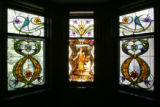 Original stained-glass windows in the home of Myrtle-Rose Greene, 55, and her husband, Gerald...