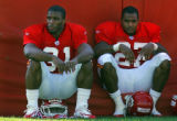 DAVID EULITT/The Kansas City Star--HOLMES AND JOHNSON--Kansas City Chiefs running back Priest...