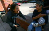 Argentine student Froilan Nunez (cq), 16, left, laughs with Jorge Cot (cq), 15, right at Colorado...