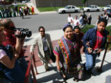 Nobel Laureate Rigoberta Menchœ Tum, center, arrives at the Newman Center on the DU campus for...